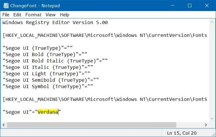 Edit registry di Notepad