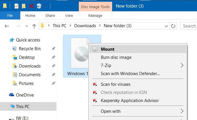 Mount ISO Windows 10
