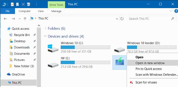 New Window File Explorer