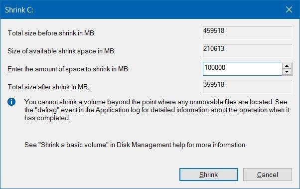 Wizard Shrink Volume - Disk Management