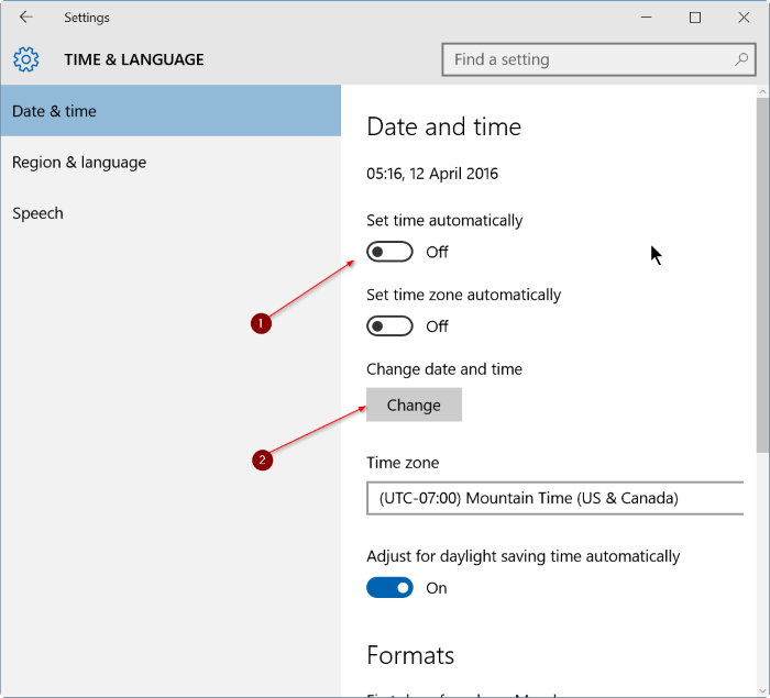 Settings - Date & time