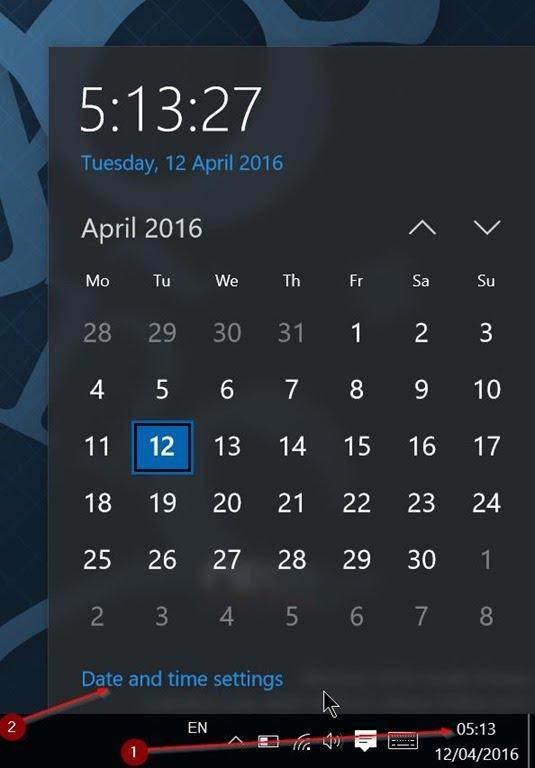 Taskbar - Waktu - Date and time settings
