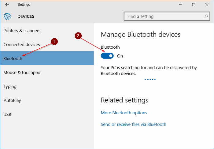 Settings - Devices - Bluetooth