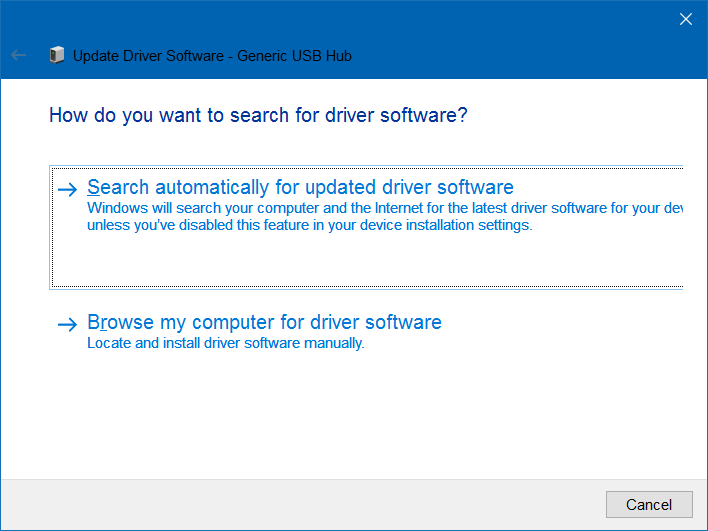 Update Driver USB Device Manager
