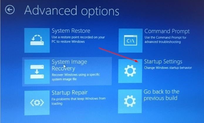 Advanced Options (Startup settings)