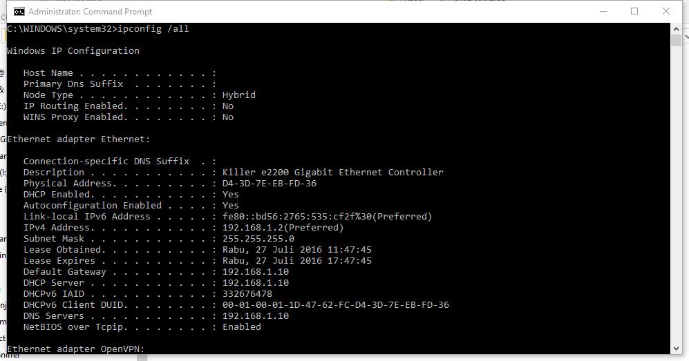 Melihat MAC Address di Windows (ipconfig)