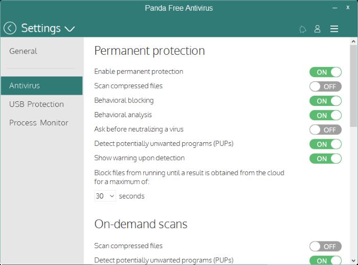 Pengaturan Panda Free Antivirus