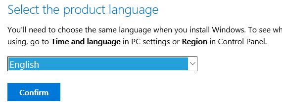 Product Language - Download Windows 10
