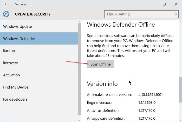 Settings - Windows Defender - Scan Offline