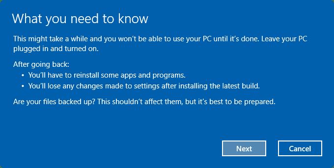 Uninstall Windows 10 Anniversary Update