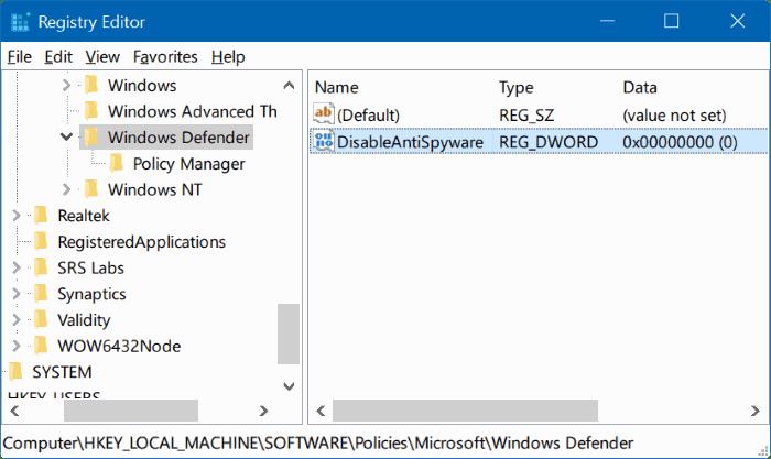 Disable Windows Defender melalui Registry Editor