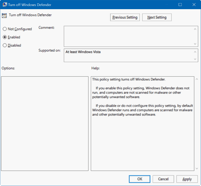 Group Policy Editor - Windows Defender