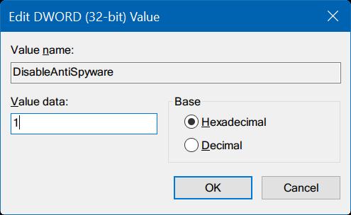 Registry DisableAntiSpyware