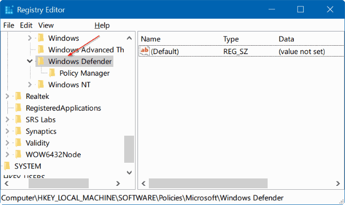 Registry Windows Defender