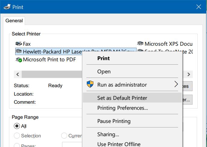 Set as default printer - Print Dialog