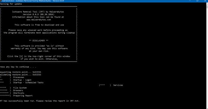 Malwarebytes Junkware Removal Tool