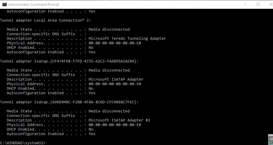 Mac Address - Command Prompt