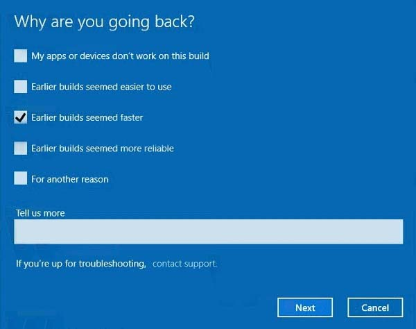 Uninstall Windows 10 Creators Update